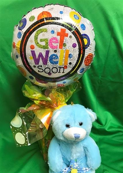 Get Well Balloon, Candy Container & Stuffed Animal