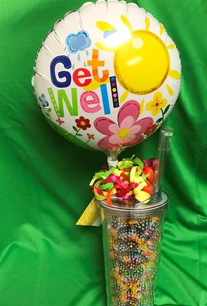 Get Well Balloon & Travel Cup with Candy